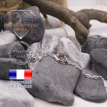 Bracelet quartz fumé en forme d'oeil en argent 925
