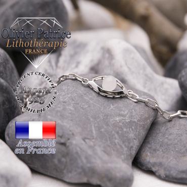 Bracelet quartz rose en forme d'oeil en argent 925