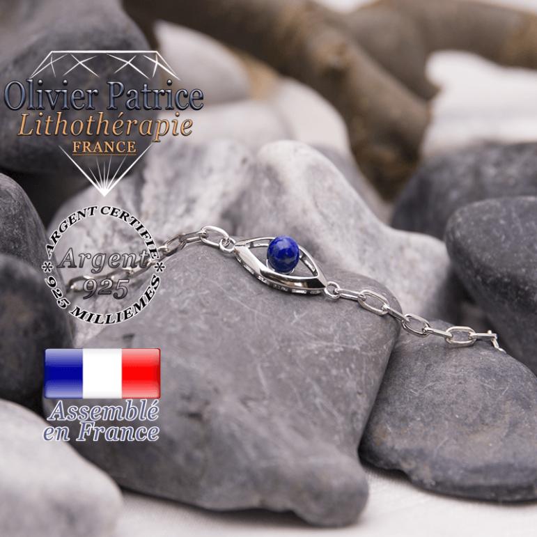 Bracelet sodalite en forme d'oeil en argent 925