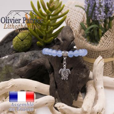 Bracelet agate bleue et son charms tortue en alliage