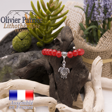Bracelet agate rouge et son charms tortue en alliage