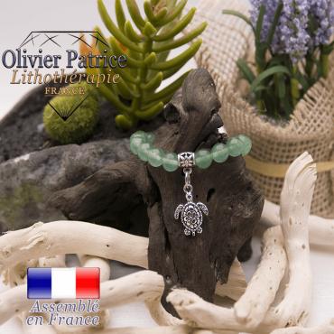 Bracelet aventurine et son charms tortue en alliage