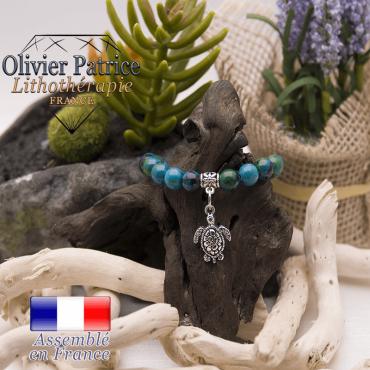 Bracelet chrysocolle et son charms tortue en alliage