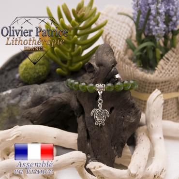 Bracelet jade de Taiwan charms tortue alliage