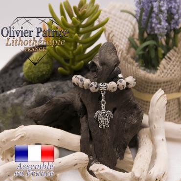 Bracelet jaspe dalmatien charms tortue alliage