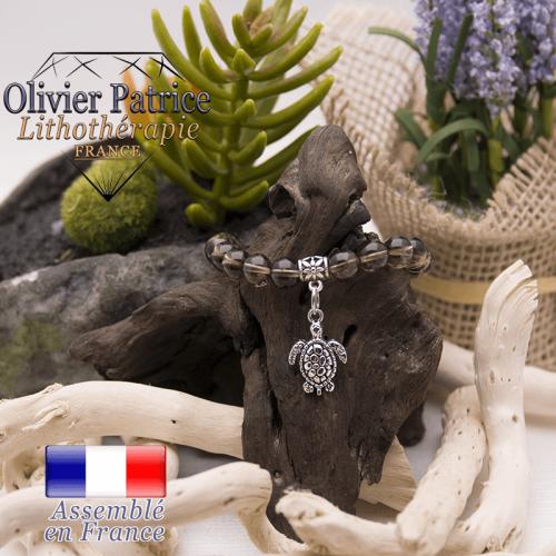 Bracelet quartz fumé et son charms tortue en alliage