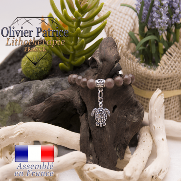Bracelet quartz raisin et son charms tortue en alliage