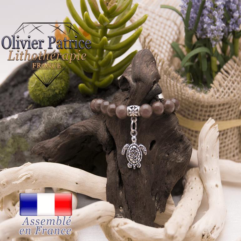 Bracelet quartz vin et son charms tortue en alliage
