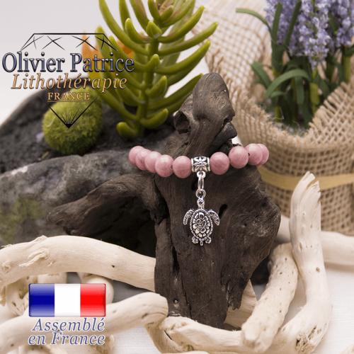 Bracelet rhodochrosite et son charms tortue en alliage