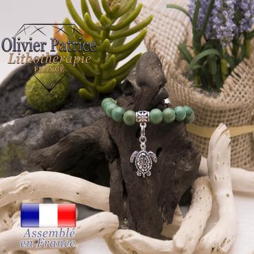 Bracelet turquoise du Tibet et son charms tortue en alliage