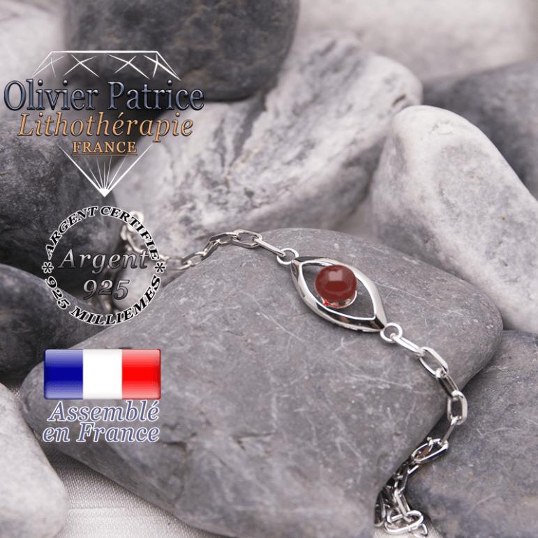 Bracelet agate rouge en forme d'oeil en argent 925