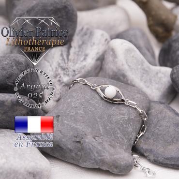 Bracelet nacre naturelle en forme d'oeil en argent 925