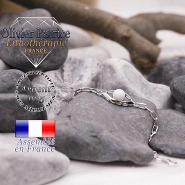Bracelet pour femme chaîne et nacre en forme d'oeil en argent 925