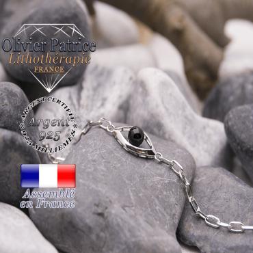 Bracelet obsidienne en forme d'oeil en argent 925