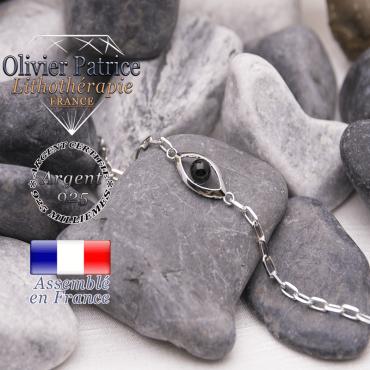 Bracelet onyx en forme d'oeil en argent 925