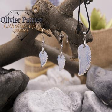Parure ailes d'ange opale