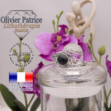 Bracelet blue sand ouvert avec fleurs en argent 925