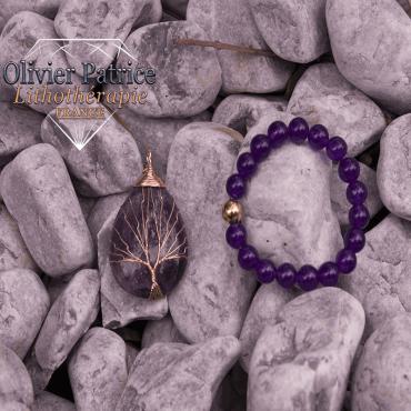 Bracelet améthyste et son pendentif arbre de vie en alliage de cuivre