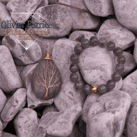 Bracelet labradorite et son pendentif arbre de vie en alliage de cuivre