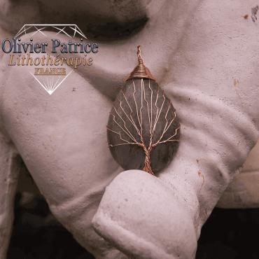 pendentif labradorite arbre de vie en alliage de cuivre