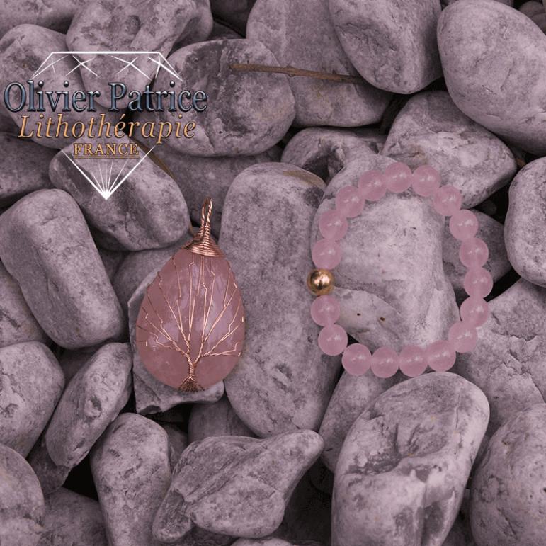 Bracelet quartz rose et son pendentif arbre de vie en alliage de cuivre