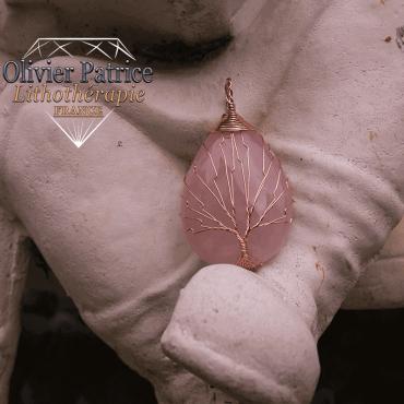 pendentif quartz rose arbre de vie en alliage de cuivre