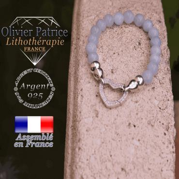 Bracelet opale avec son fermoir coeur en argent 925