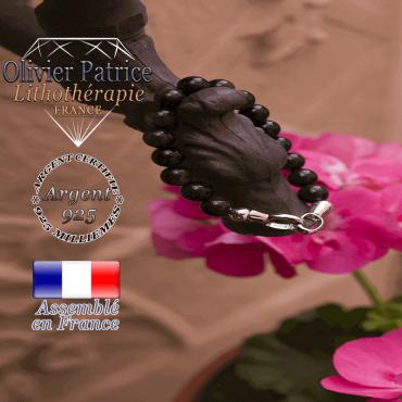 Bracelet obsidienne avec fermoir en argent 925