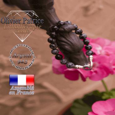 Bracelet obsidienne neige avec fermoir en argent 925