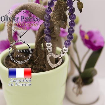 Bracelet améthyste et son fermoir coeur en argent 925