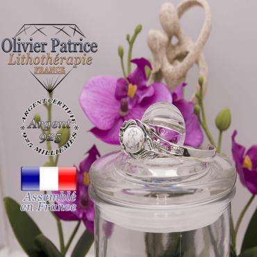 Bracelet howlite ouvert avec fleurs en argent 925