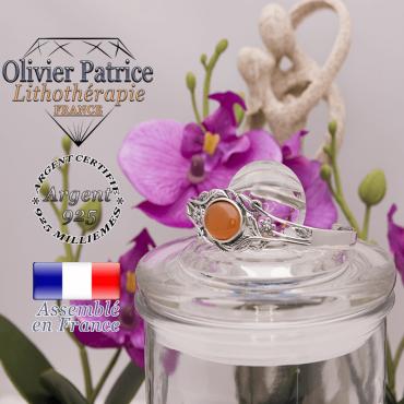 Bracelet aventurine orange ouvert avec fleurs en argent 925