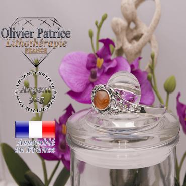 Bracelet agate à bandes orange ouvert avec fleurs en argent 925