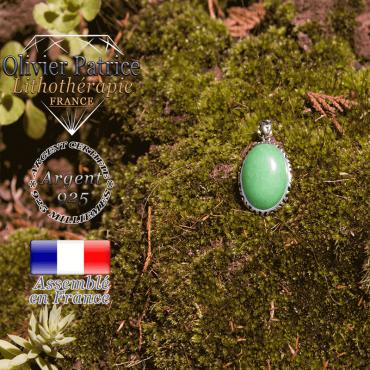 Pendentif agate verte médaille en argent 925