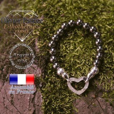 Bracelet hématite avec son fermoir coeur en argent 925