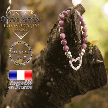 Bracelet lépidolite avec son fermoir coeur en argent 925
