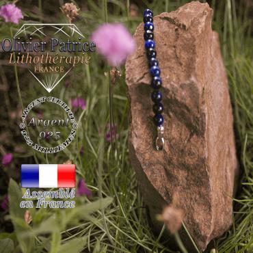 Bracelet oeil de Tigre teinte bleue avec fermoir en argent 925