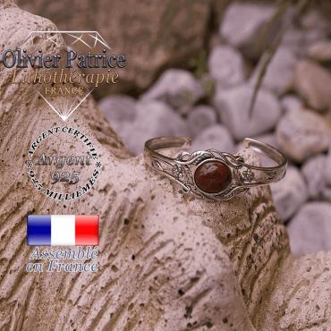 Bracelet jaspe rouge ouvert avec fleurs en argent 925