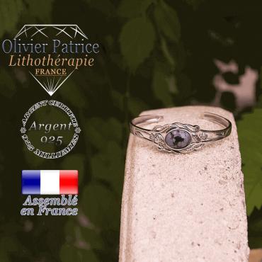 Bracelet obsidienne neige ouvert avec fleurs en argent 925