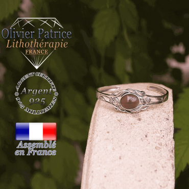Bracelet onyx gris ouvert avec fleurs et feuilles en argent 925