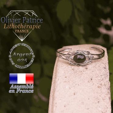 Bracelet onyx ouvert avec fleurs en argent 925