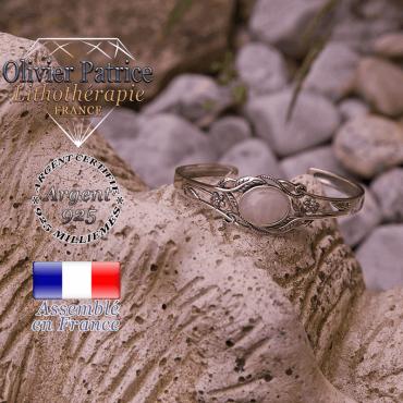 Bracelet quartz rose ouvert avec fleurs en argent 925