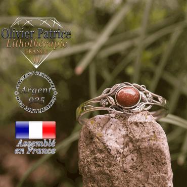 Bracelet goldstone ouvert avec fleurs en argent 925