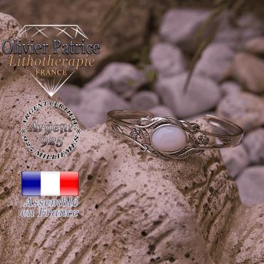 Bracelet opale ouvert avec fleurs en argent 925