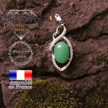 Pendentif Iris en pierre agate verte en forme de losange à noeud et en argent 925
