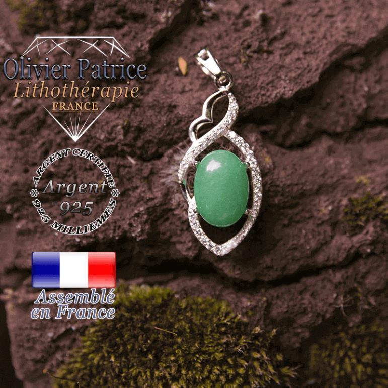 Pendentif agate verte losange à noeud en argent 925