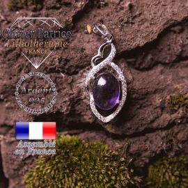 Pendentif Iris améthyste en forme de losange avec noeud en argent 925