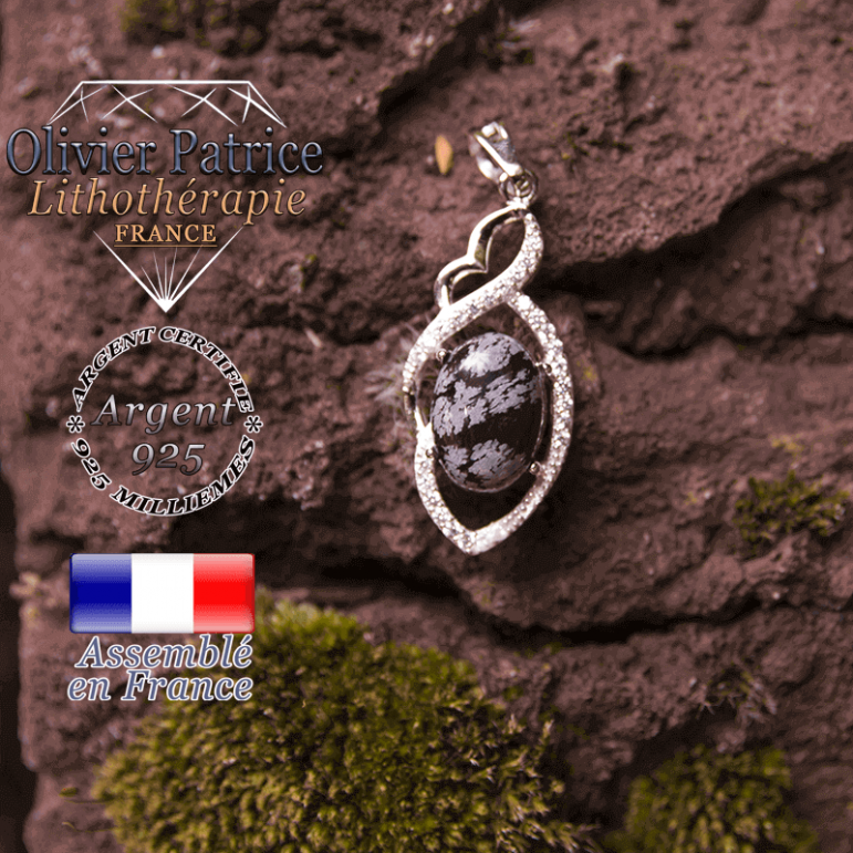 Pendentif obsidienne neige losange à noeud en argent 925