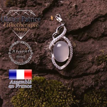 Pendentif cristal de roche losange à noeud en argent 925