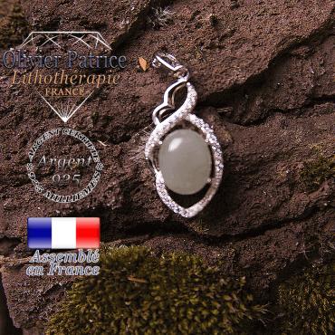 Pendentif onyx gris losange à noeud en argent 925